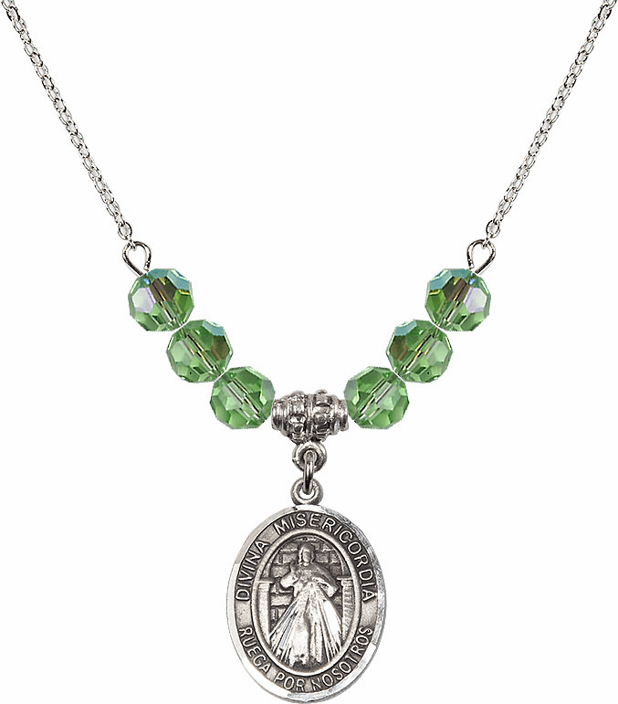 Sterling Silver Spanish Misericordia/Jesus Divine Mercy Sterling August Peridot Swarovski Crystal Beaded Necklace by Bliss Mfg