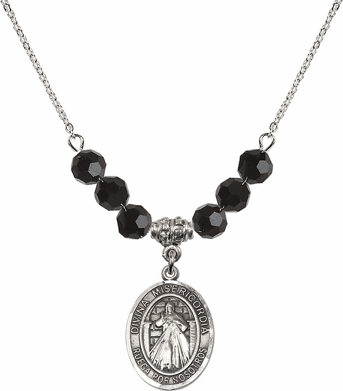 Sterling Silver Spanish Misericordia/Jesus Divine Mercy Sterling Black Jet Swarovski Crystal Beaded Necklace by Bliss Mfg