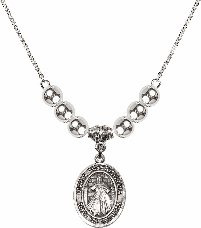 Sterling Silver Spanish Misericordia/Jesus Divine Mercy Sterling Charm w/Silver Spanish Beads Necklace by Bliss Mfg