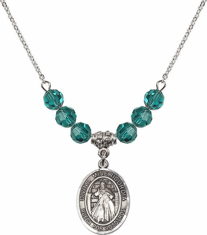 Sterling Silver Spanish Misericordia/Jesus Divine Mercy Sterling December Zircon Swarovski Crystal Beaded Necklace by Bliss Mfg
