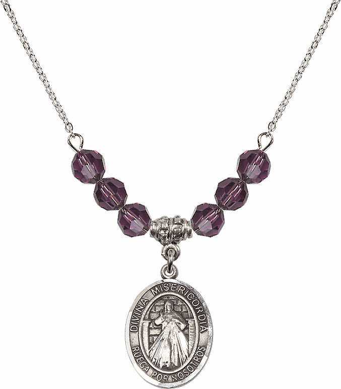 Sterling Silver Spanish Misericordia/Jesus Divine Mercy Sterling February Amethyst Swarovski Crystal Beaded Necklace by Bliss Mfg