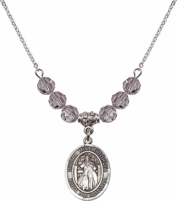 Sterling Silver Spanish Misericordia/Jesus Divine Mercy Sterling June Lt Amethyst Swarovski Crystal Beaded Necklace by Bliss Mfg