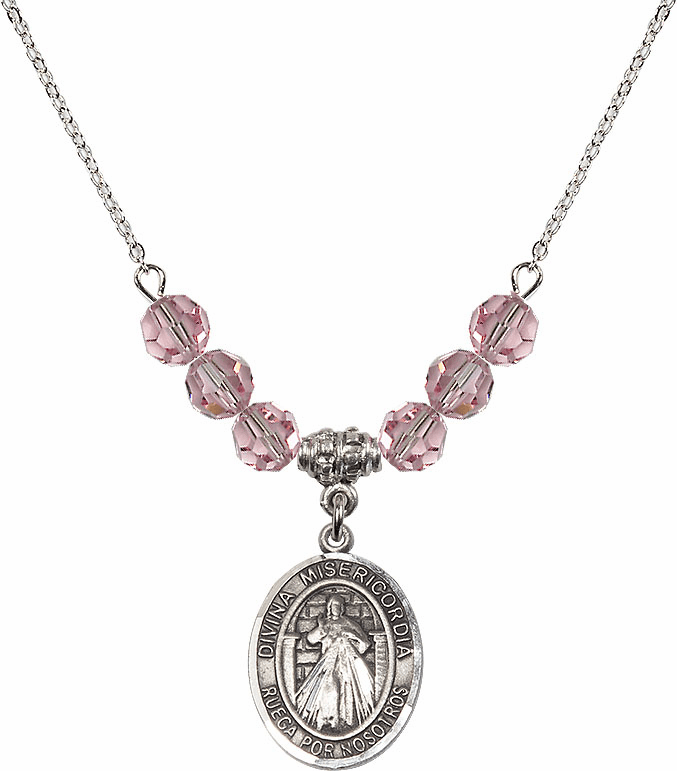 Sterling Silver Spanish Misericordia/Jesus Divine Mercy Sterling Lt Rose Swarovski Crystal Beaded Necklace by Bliss Mfg