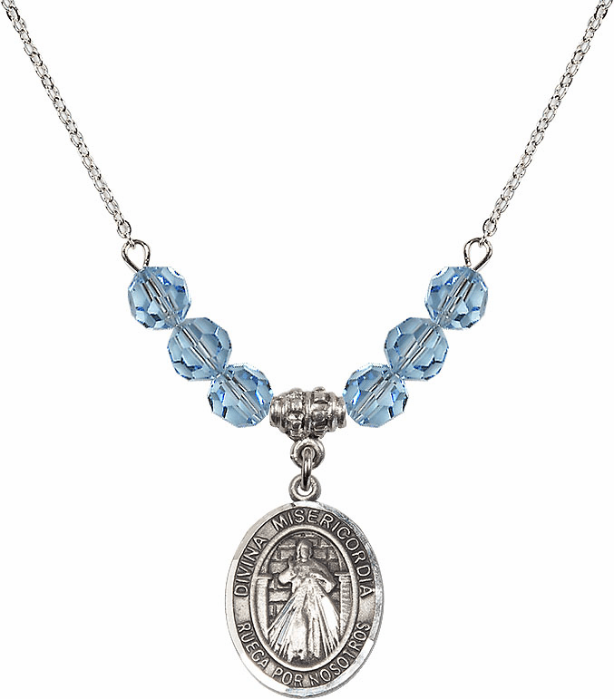 Sterling Silver Spanish Misericordia/Jesus Divine Mercy Sterling March Aqua Swarovski Crystal Beaded Necklace by Bliss Mfg