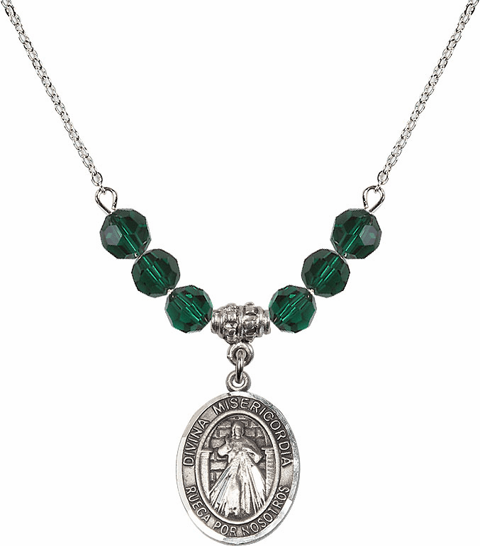 Sterling Silver Spanish Misericordia/Jesus Divine Mercy Sterling May Emerald Swarovski Crystal Beaded Necklace by Bliss Mfg