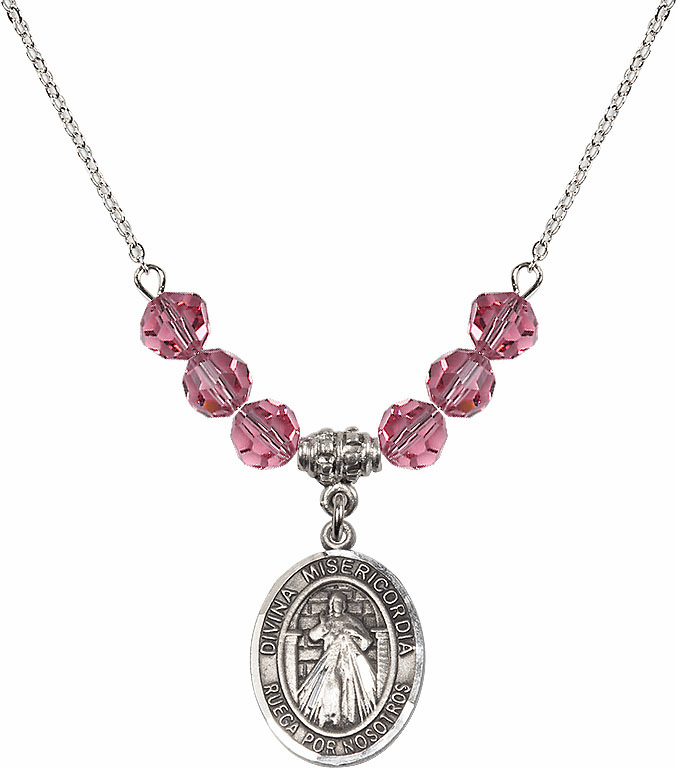 Sterling Silver Spanish Misericordia/Jesus Divine Mercy Sterling October Rose Swarovski Crystal Beaded Necklace by Bliss Mfg