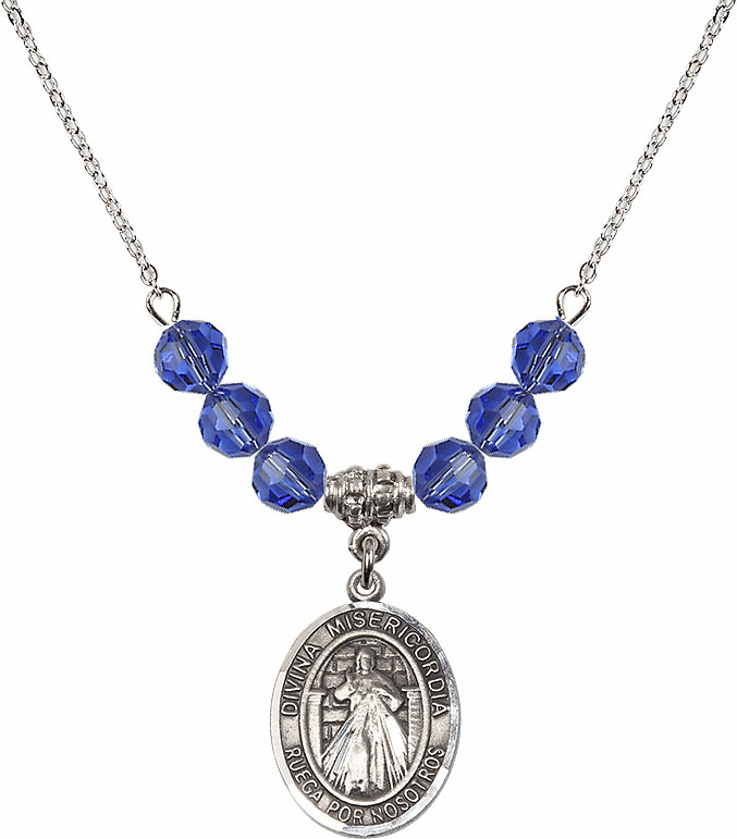 Sterling Silver Spanish Misericordia/Jesus Divine Mercy Sterling September Sapphire Swarovski Crystal Beaded Necklace by Bliss Mfg