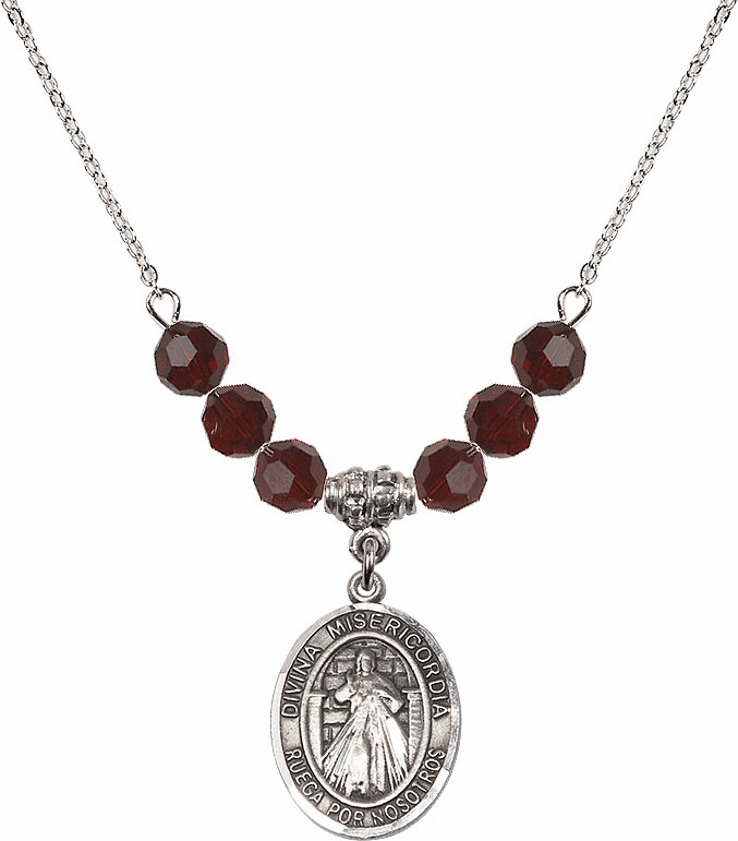Sterling Silver Spanish Misericordia/Jesus Divine Mercy Swarovski Crystal Beaded Necklace by Bliss Mfg