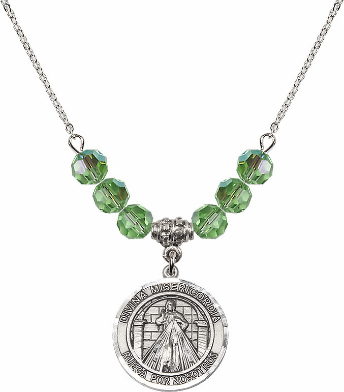 Sterling Silver Spanish Round Misericordia/Jesus Divine Mercy Sterling August Peridot Swarovski Crystal Beaded Necklace by Bliss Mfg