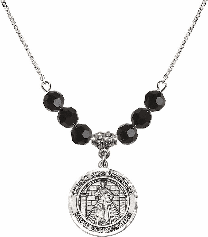 Sterling Silver Spanish Round Misericordia/Jesus Divine Mercy Sterling Black Jet Swarovski Crystal Beaded Necklace by Bliss Mfg