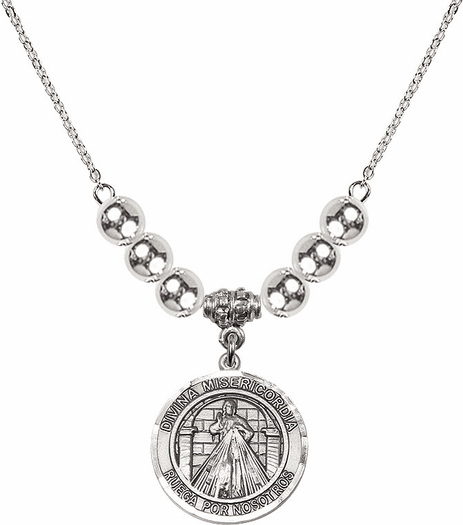 Sterling Silver Spanish Round Misericordia/Jesus Divine Mercy Sterling Charm w/Silver Spanish Beads Necklace by Bliss Mfg