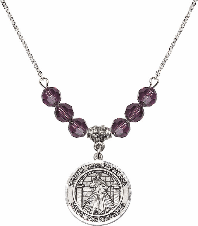 Sterling Silver Spanish Round Misericordia/Jesus Divine Mercy Sterling February Amethyst Swarovski Crystal Beaded Necklace by Bliss Mfg