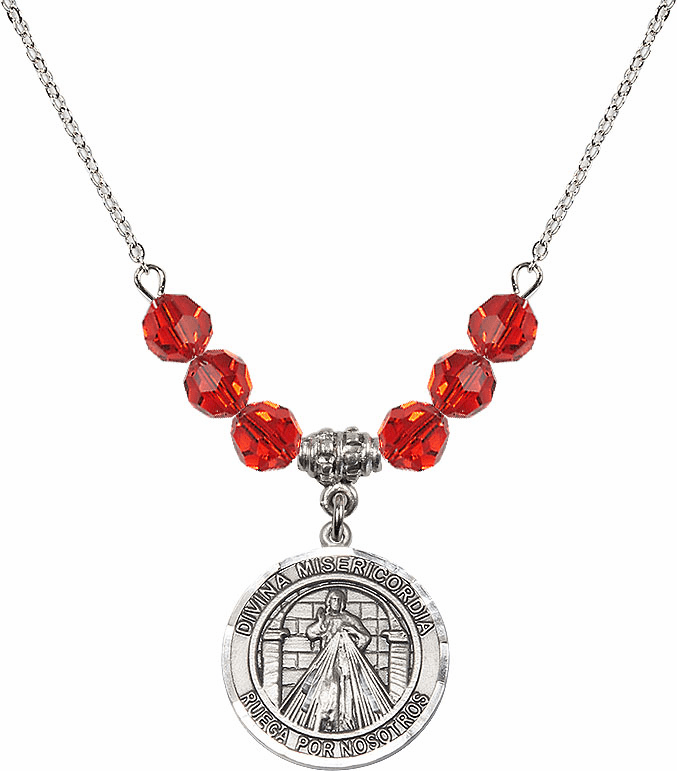 Sterling Silver Spanish Round Misericordia/Jesus Divine Mercy Sterling July Ruby Swarovski Crystal Beaded Necklace by Bliss Mfg