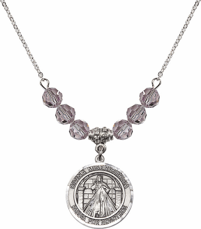 Sterling Silver Spanish Round Misericordia/Jesus Divine Mercy Sterling June Lt Amethyst Swarovski Crystal Beaded Necklace by Bliss Mfg