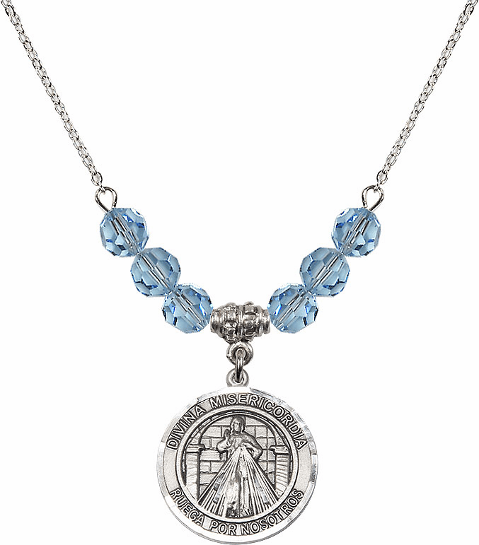 Sterling Silver Spanish Round Misericordia/Jesus Divine Mercy Sterling March Aqua Swarovski Crystal Beaded Necklace by Bliss Mfg