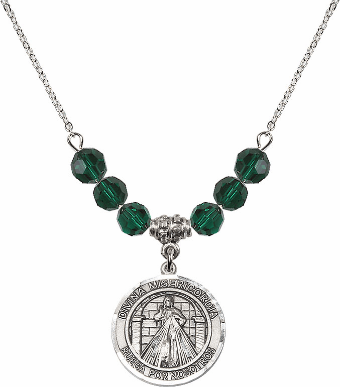 Sterling Silver Spanish Round Misericordia/Jesus Divine Mercy Sterling May Emerald Swarovski Crystal Beaded Necklace by Bliss Mfg