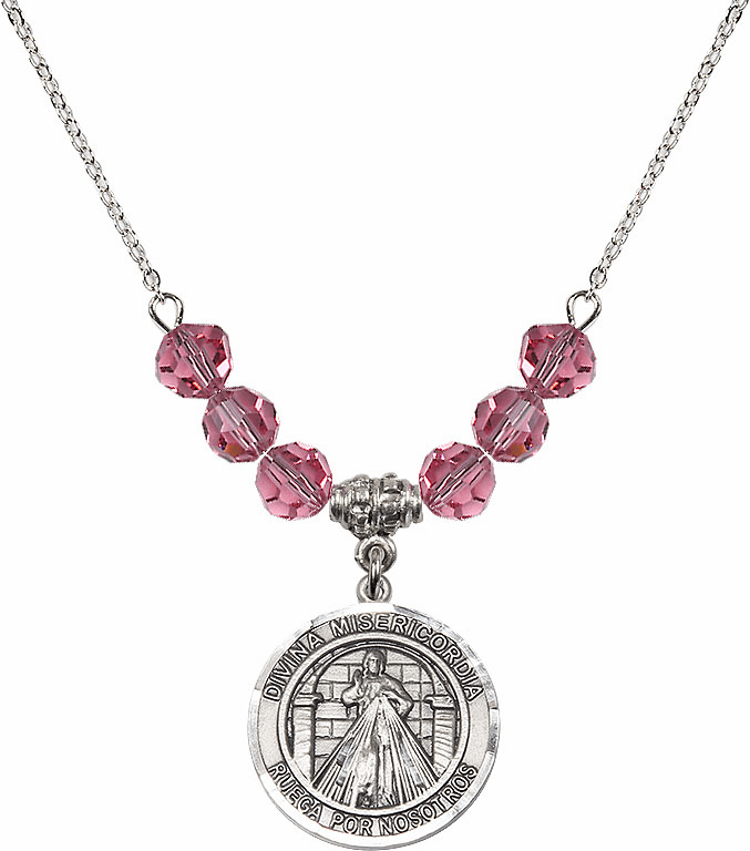 Sterling Silver Spanish Round Misericordia/Jesus Divine Mercy Sterling October Rose Swarovski Crystal Beaded Necklace by Bliss Mfg