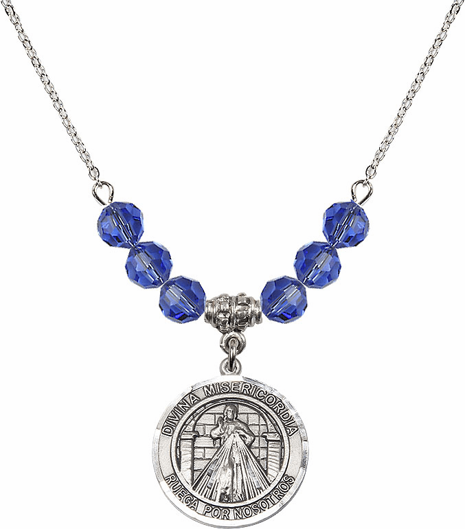 Sterling Silver Spanish Round Misericordia/Jesus Divine Mercy Sterling September Sapphire Swarovski Crystal Beaded Necklace by Bliss Mfg