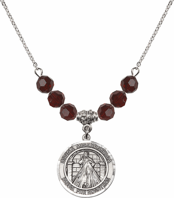 Sterling Silver Spanish Round Misericordia/Jesus Divine Mercy Swarovski Crystal Beaded Necklace by Bliss Mfg