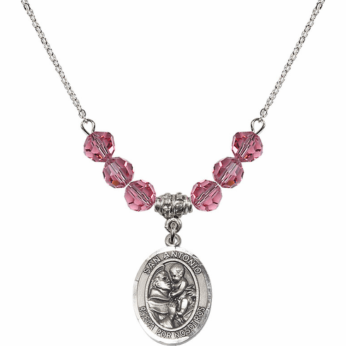 Spanish San Antonio Sterling October Rose Swarovski Crystal Beaded Necklace by Bliss Mfg