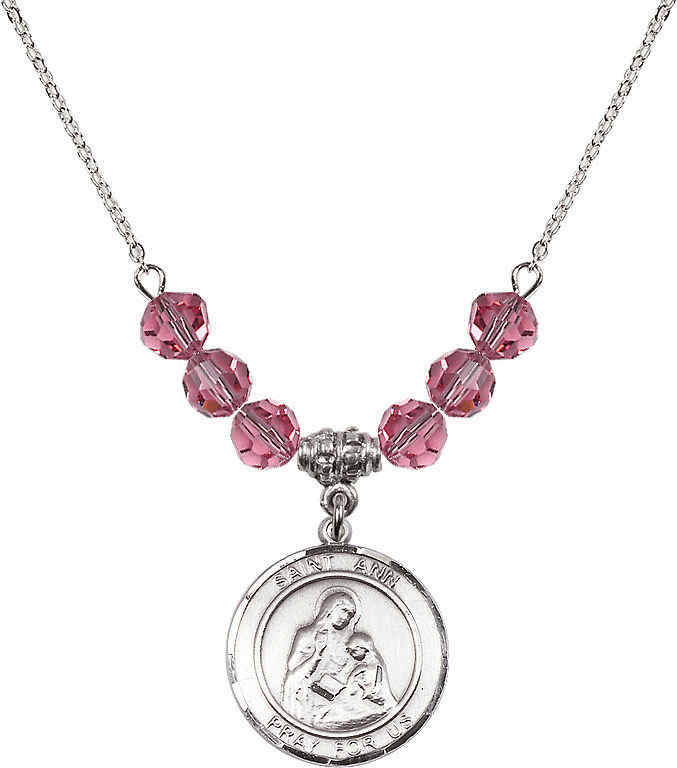 Sterling Silver St Ann and Mary Sterling October Rose 6mm Swarovski Crystal Necklace by Bliss Mfg