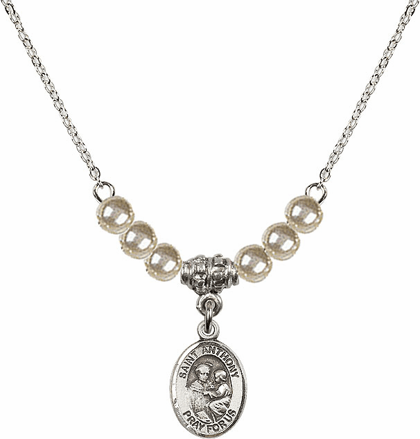 St Anthony of Padua Sterling 4mm Faux Pearls Necklace by Bliss Mfg