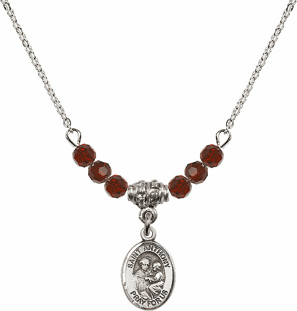 St Anthony of Padua Sterling 4mm January Garnet Swarovski Crystal Necklace by Bliss Mfg