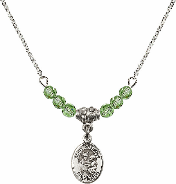 St Anthony of Padua Sterling August Peridot 4mm Swarovski Crystal Necklace by Bliss Mfg
