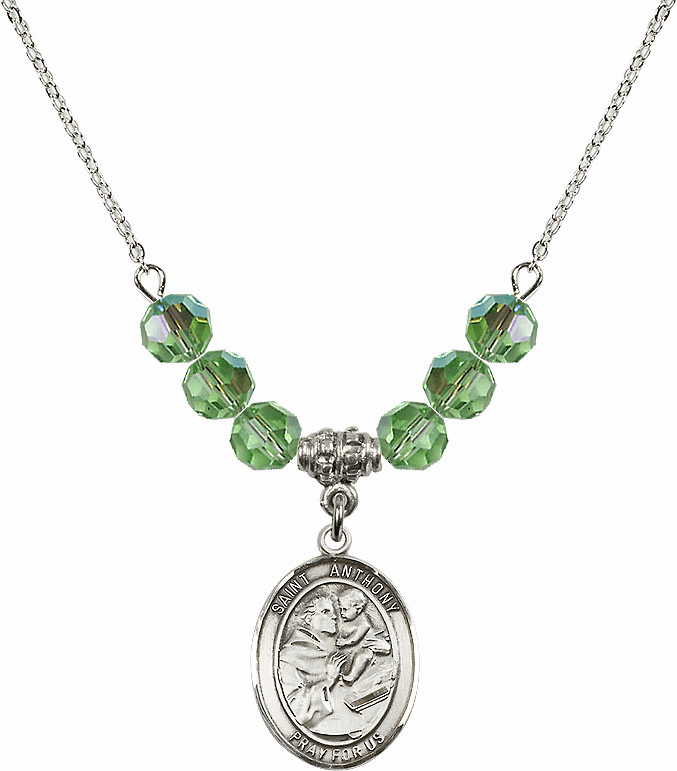 St Anthony of Padua Sterling August Peridot Swarovski Crystal Beaded Necklace by Bliss Mfg