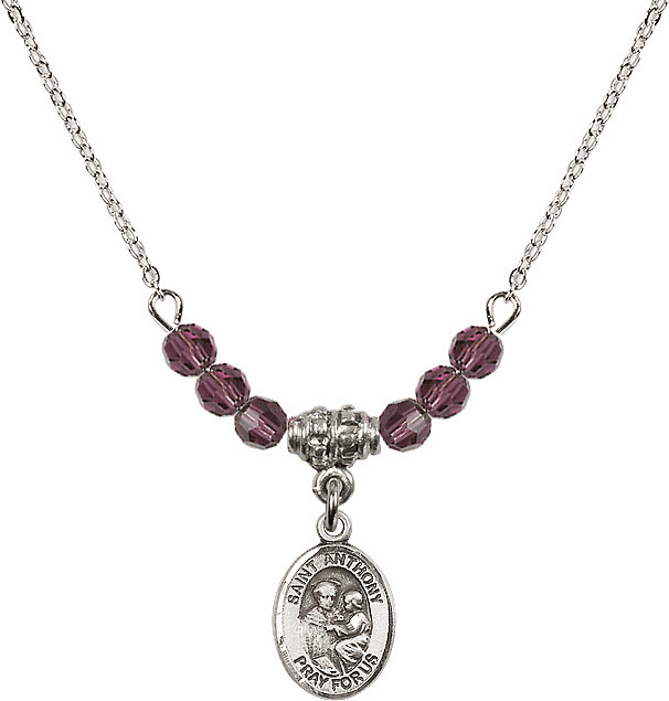 St Anthony of Padua Sterling February Amethyst 4mm Swarovski Crystal Necklace by Bliss Mfg