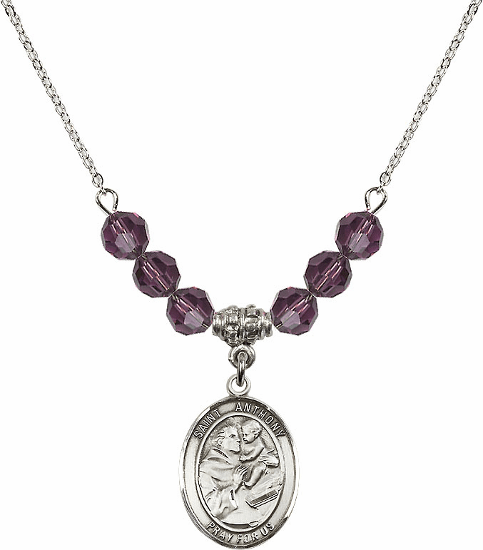 St Anthony of Padua Sterling February Amethyst Swarovski Crystal Beaded Necklace by Bliss Mfg