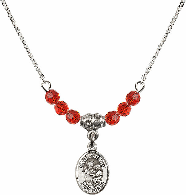 St Anthony of Padua Sterling July Ruby 4mm Swarovski Crystal Necklace by Bliss Mfg