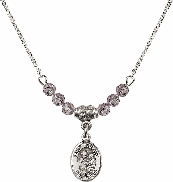 St Anthony of Padua Sterling June Lt Amethyst 4mm Swarovski Crystal Necklace by Bliss Mfg