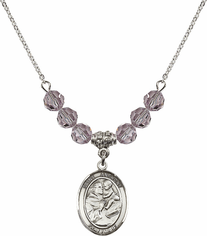 St Anthony of Padua Sterling June Lt Amethyst Swarovski Crystal Beaded Necklace by Bliss Mfg