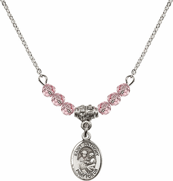 St Anthony of Padua Sterling Lt Rose 4mm Swarovski Crystal Necklace by Bliss Mfg