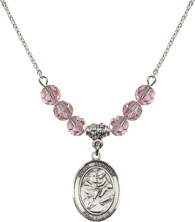 St Anthony of Padua Sterling Lt Rose Swarovski Crystal Beaded Necklace by Bliss Mfg