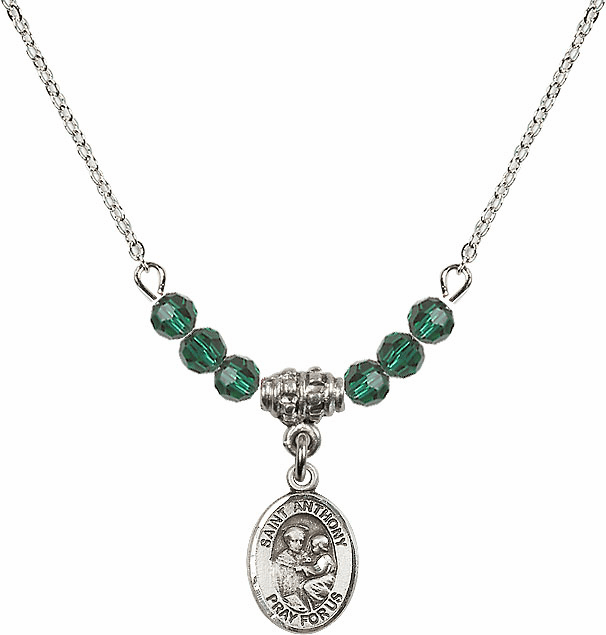 St Anthony of Padua Sterling May Emerald 4mm Swarovski Crystal Necklace by Bliss Mfg