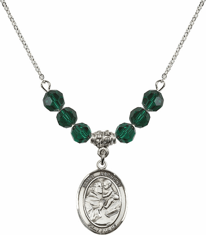 St Anthony of Padua Sterling May Emerald Swarovski Crystal Beaded Necklace by Bliss Mfg
