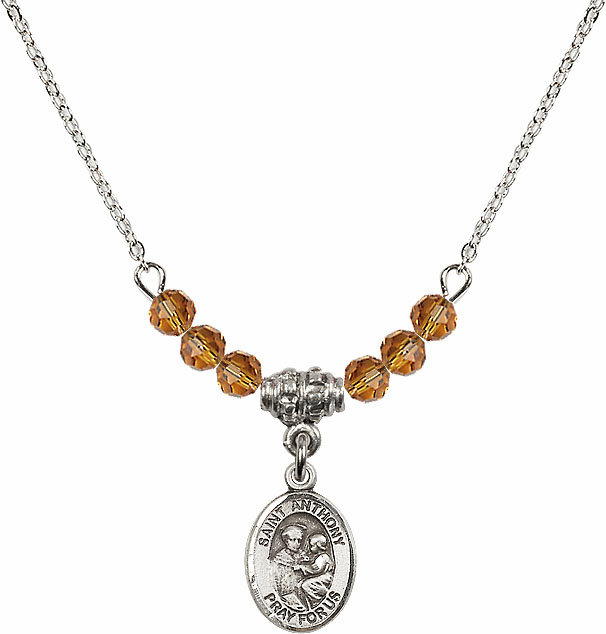 St Anthony of Padua Sterling November Topaz 4mm Swarovski Crystal Necklace by Bliss Mfg