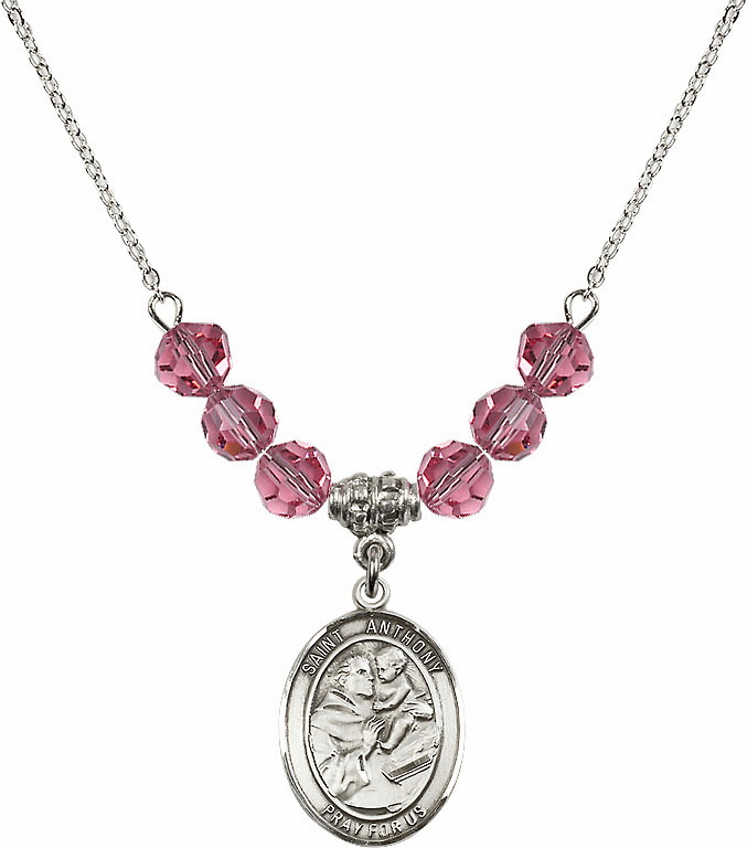 St Anthony of Padua Sterling October Rose Swarovski Crystal Beaded Necklace by Bliss Mfg