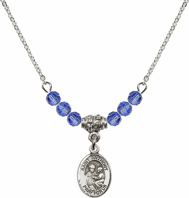 St Anthony of Padua Sterling September Sapphire 4mm Swarovski Crystal Necklace by Bliss Mfg
