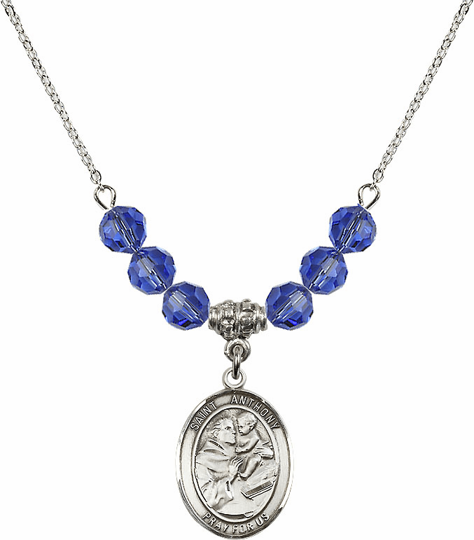St Anthony of Padua Sterling September Sapphire Swarovski Crystal Beaded Necklace by Bliss Mfg