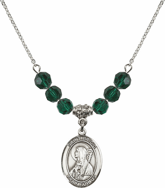 Sterling Silver St Brigid of Ireland Sterling May Emerald Swarovski Crystal Beaded Necklace by Bliss Mfg