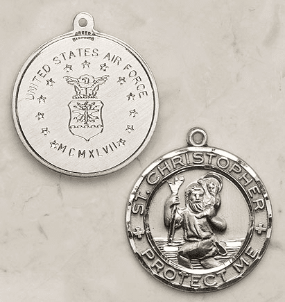 Sterling Silver St. Christopher Air Force Medal by Creed Jewelry