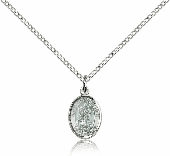 Sterling Silver St. Christopher Blue Epoxy Patron Saint Medal