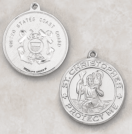 Sterling Silver St. Christopher Coast Guard Medal Necklace by Creed Jewelry