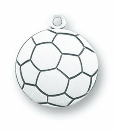 Sterling Silver St Christopher Soccer Ball Necklace