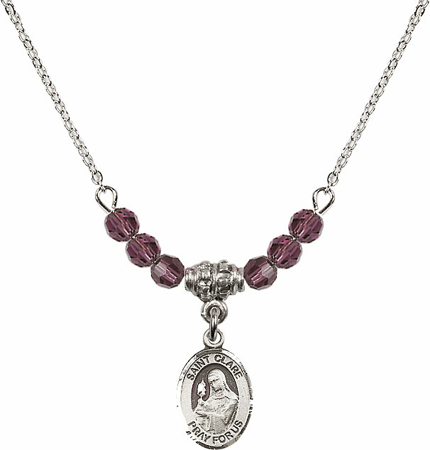 St Clare of Assisi Sterling February Amethyst 4mm Swarovski Crystal Necklace by Bliss Mfg
