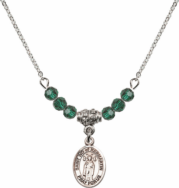 St Ivo of Kermartin Sterling May Emerald 4mm Swarovski Crystal Necklace by Bliss Mfg