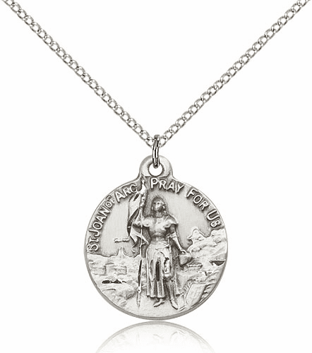 Sterling Silver St Joan of Arc Pendant Necklace by Bliss